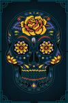 Sugar Skull - Navy - Lantern Press Artwork
