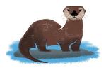 Otter - Mid Century Brushwork - Lantern Press Artwork