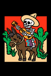 Day of the Dead - Skeleton on Mule with Guitar - Lantern Press Artwork