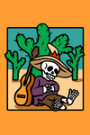 Day of the Dead - Skeleton Siesta with Guitar - Lantern Press Artwork