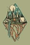 Mountain Camping - Diamond - Contour - Lantern Press Artwork