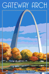 Gateway Arch National Park - Arch and Trees in Fall - Lantern Press Artwork