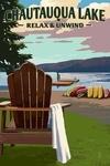 Chautauqua Lake, New York - Lake & Adirondack Chair - Lantern Press Artwork