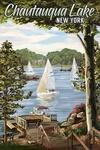 Chautauqua Lake, New York - Lake View & Sailboats - Lantern Press Artwork