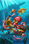 Octopus & Diver - Mid-Century Inspired - Image Only - Lantern Press Artwork