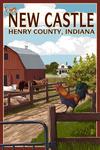 Henry County, Indiana - Enjoy New Castle - Barnyard Scene - Lantern Press Artwork