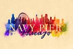 Navy Pier, Chicago - Skyline Abstract - Lantern Press Artwork