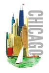 Chicago, Illinois - Vintage Watercolor Skyline - Bright Colors - Lantern Press Artwork