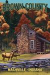 Brown County, Nashville, Indiana - Deer Family & Cabin Scene - Lantern Press Artwork