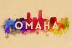 Omaha, Nebraska - Skyline Abstract - Lantern Press Artwork