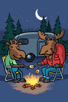 Moose Campout - Mid-Century Inspired - Campfire - Lantern Press Artwork