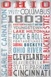 Ohio - The Buckeye State - Rustic Typography - Lantern Press Artwork