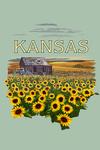 Kansas - Wheat Fields - Shack & Sunflowers - Badge - Contour - Lantern Press Artwork