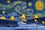 Ski Resort with Mountain - Starry Night - Lantern Press Artwork
