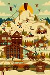 Ski Resort - Geometric - Lantern Press Artwork