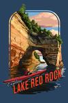 Lake Red Rock, Iowa - Kayaking - Contour - Lantern Press Artwork