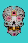 Day of the Dead - Sugar Skull (Pink & Teal) - Contour - Lantern Press Artwork