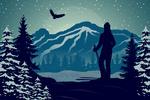 Skier & Mountain - Vector Silhouette - Lantern Press Artwork