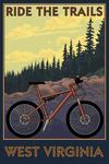 West Virginia - Ride the Trails - Mountain Bike Scene - Lantern Press Artwork
