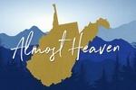 West Virginia - Almost Heaven - State Silhouette & Mountains - Blue & Gold - Lantern Press Artwork