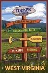 Tucker County, West Virginia - Destination Signpost - Lantern Press Artwork