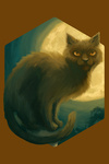 Black Cat - Halloween Oil Painting - Contour - Lantern Press Artwork