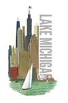 Lake Michigan, Chicago, Illinois - Vintage Watercolor - Skyline - Lantern Press Artwork