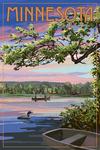 Minnesota - Summer Lake Sunset Scene - Lantern Press Artwork