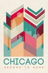 Chicago, Illinois - Second to None - Geometric Line Art - Lantern Press Artwork