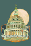 Washington, DC - Capitol Building & Moon - Contour - Lantern Press Artwork
