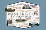 Washington, DC - Typography & Icons - Contour - Lantern Press Artwork