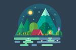 Camping Scene - Vector - Lantern Press Artwork