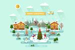 Merry Christmas - Town Vector - Lantern Press Artwork