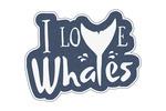 I Love Whales - Logo Sticker Style - Lantern Press Artwork