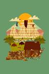 Theodore Roosevelt NP, North Dakota - Geometric National Park Series - Contour - Lantern Press Artwork