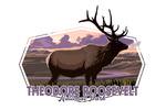 Theodore Roosevelt NP, North Dakota - Elk and Sunset - Contour - Lantern Press Artwork