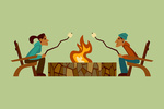 Campfire - Roasting Marshmallows - Geometric - Contour - Lantern Press Artwork