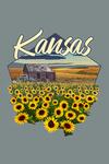 Kansas - Shack & Sunflowers with Wheat Field - Contour - Lantern Press Artwork