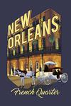 New Orleans, Louisiana - French Quarter - Alt Contour - Lantern Press Artwork