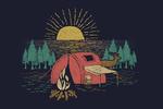 Camping Scene, Kayaker & Lake - Lantern Press Artwork