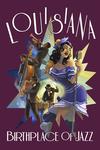 Louisiana - Jazz Scene - Contour - Lantern Press Artwork