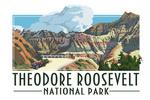 Theodore Roosevelt NP, North Dakota - Road Scene - Alt Contour - Lantern Press Artwork