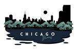 Chicago, Illinois - Vector City Skyline - Contour - Lantern Press Artwork