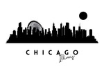 Chicago, Illinois - Skyline Silhouette - Lantern Press Artwork
