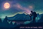 Great Basin National Park, Nevada - Night Sky with Moon - Textured Watercolor - Lantern Press Artwork