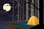 Camping by Cliffside at Night - Pop Sky - Lantern Press Artwork