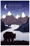 Stay Wild - Bear & Mountain Silhouette - Night Sky -  Purple - Lantern Press Artwork