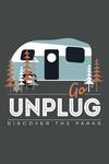 Discover the Parks - Go Unplug - Vector Retro Camper - Contour - Lantern Press Artwork