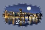 Baltimore, Maryland - Skyline at Night - Contour - Lantern Press Artwork