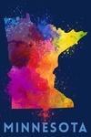 Minnesota - State Abstract Watercolor - Dark Background - Lantern Press Artwork